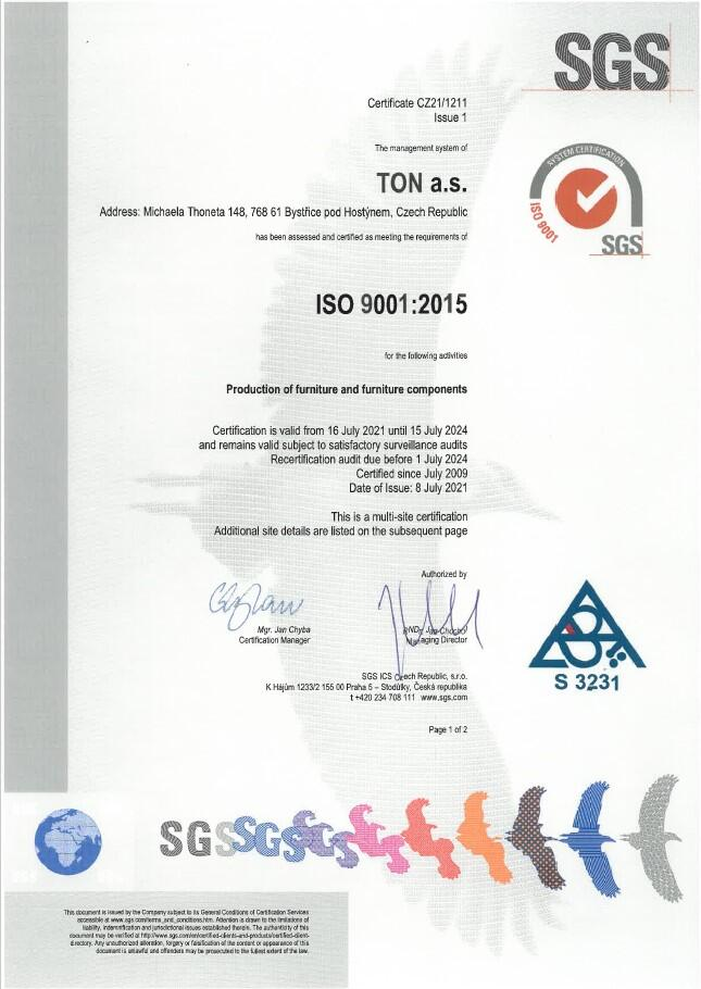 Certificates | TON a s  - Hancrafted for generations